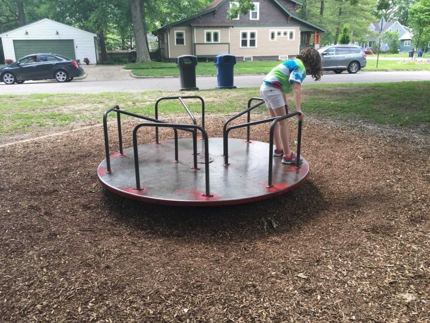 Allmendinger Park - Merry Go Round is Close to the Road