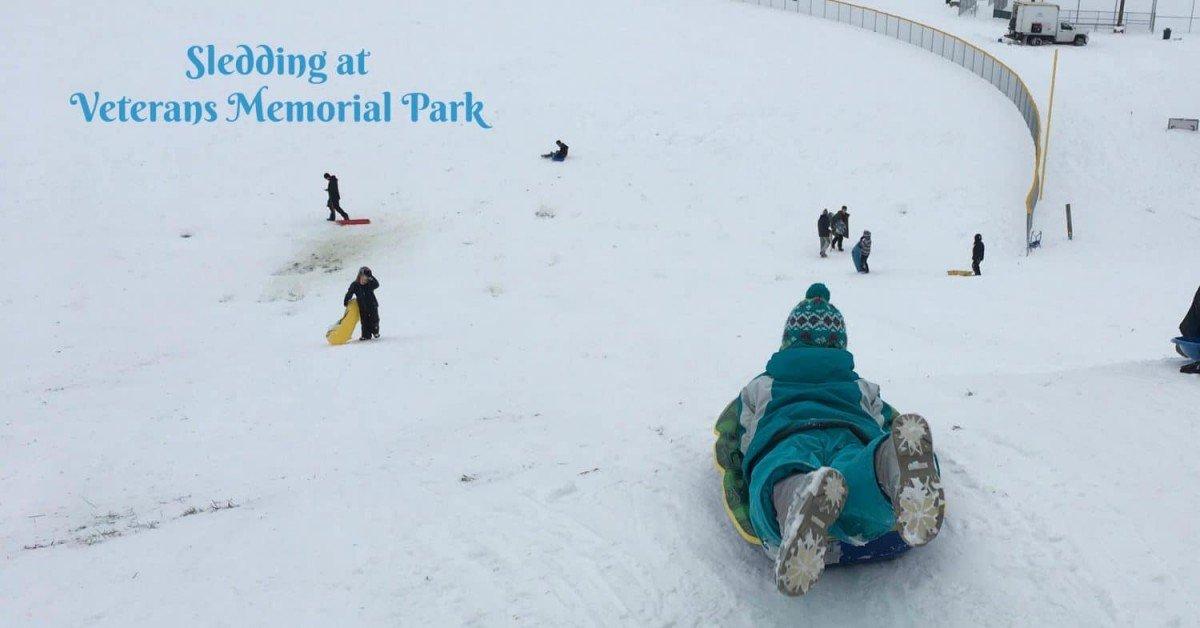 Sledding at Veterans Memorial Park