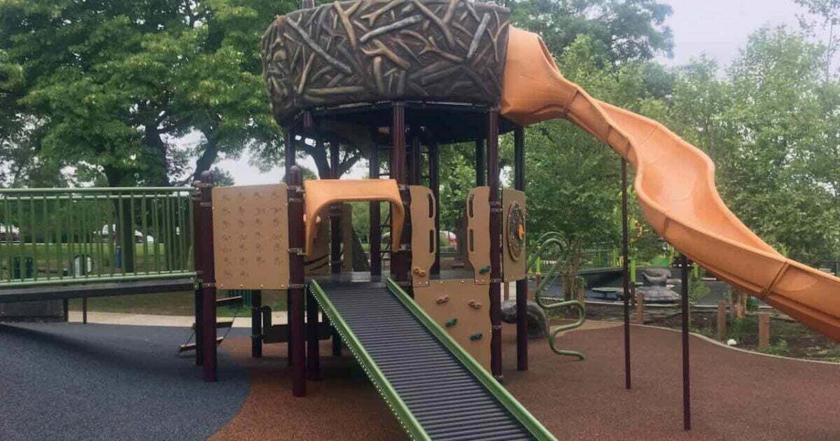 Gallup Park Centennial Playground - Brown Structure with Roller Slide
