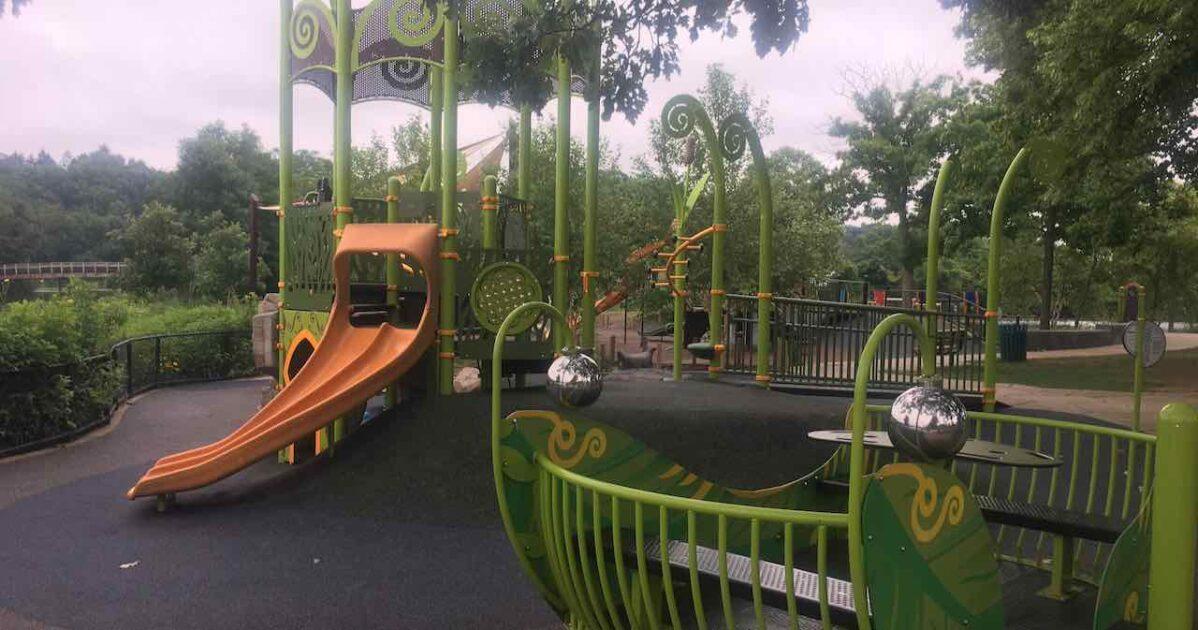 Gallup Park Centennial Playground - Green Structure