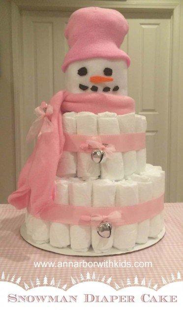 Snowman Diaper Cake