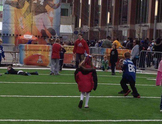 On the field at NFL Experience