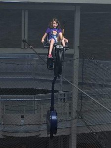 Riding the Sky Bike a the Franklin Institute