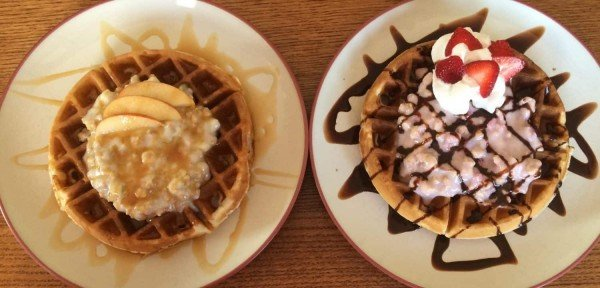 Breakfast Waffle Sundaes with Quaker Real Medleys Yogurt Cups