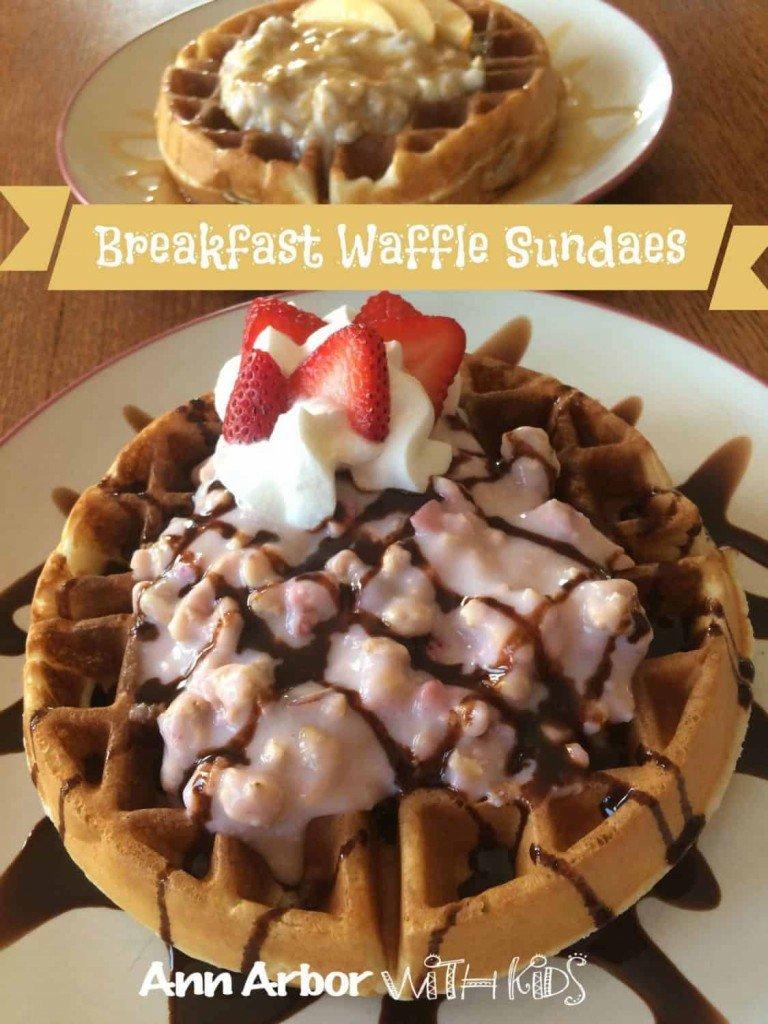 Breakfast Waffle Sundaes made with Quaker Real Medleys Yogurt Cups