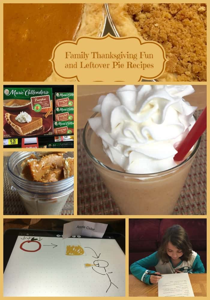 Family Thanksgiving Fun and Leftover Pie Recipes - Pumpkin Pie Chai Latte Smoothie & Dutch Apple Pie Cider Smoothie