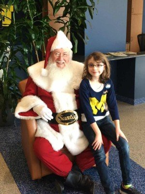 Santa Visit at UM Basketball Game 2014