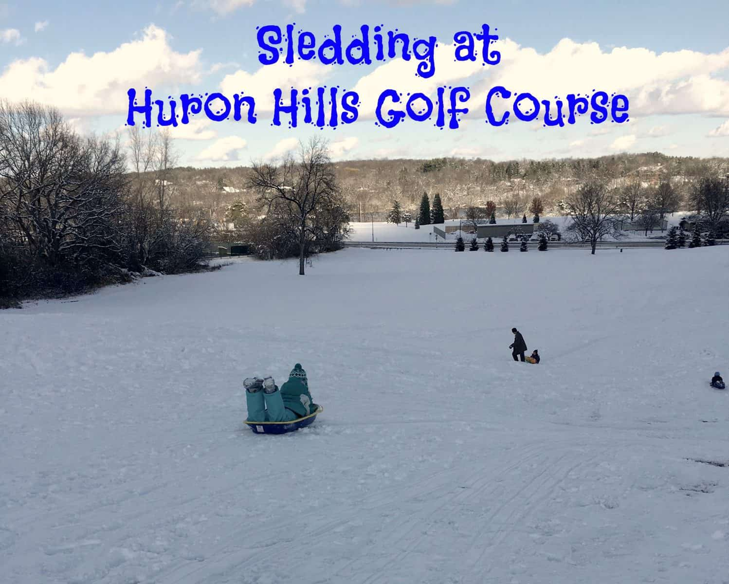 sledding at huron hills golf course ann arbor with kids