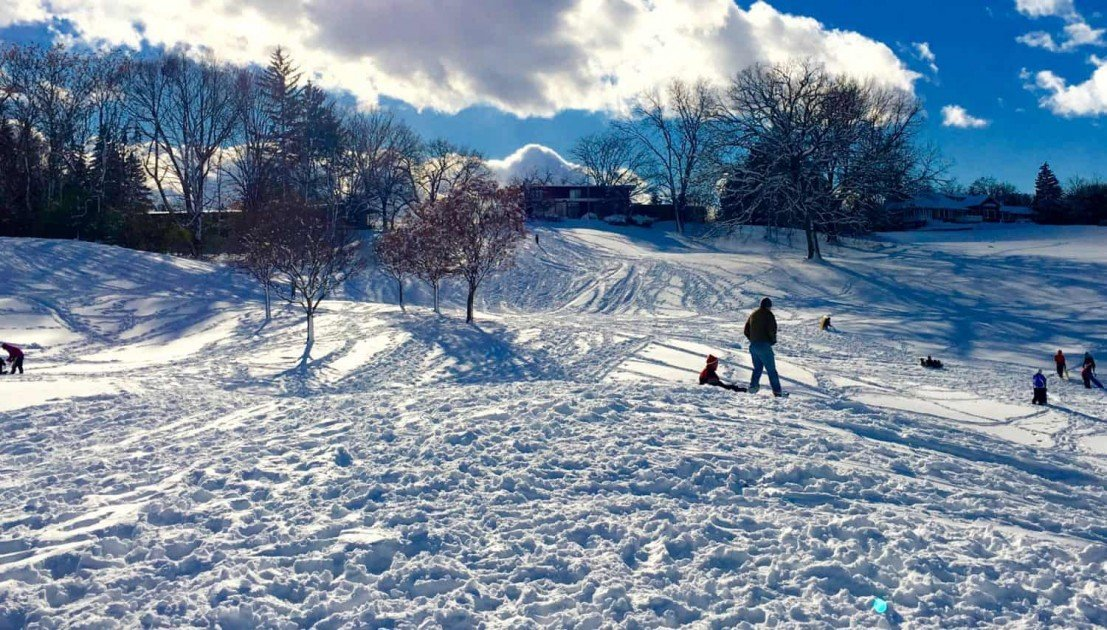 Sledding at Huron Hills Golf Course - Lots of Hills