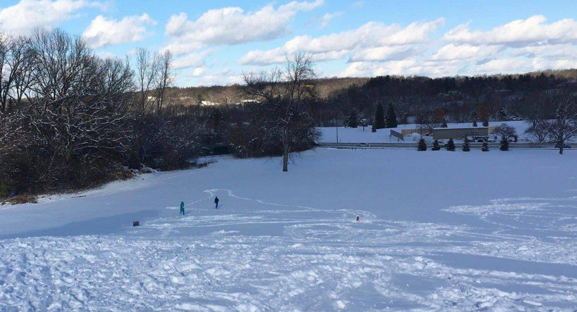 Sledding at Huron Hills Golf Course - Snow Fun