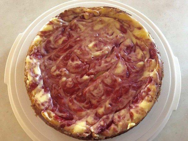 Lemon Strawberry Cheesecake - Finished Cake