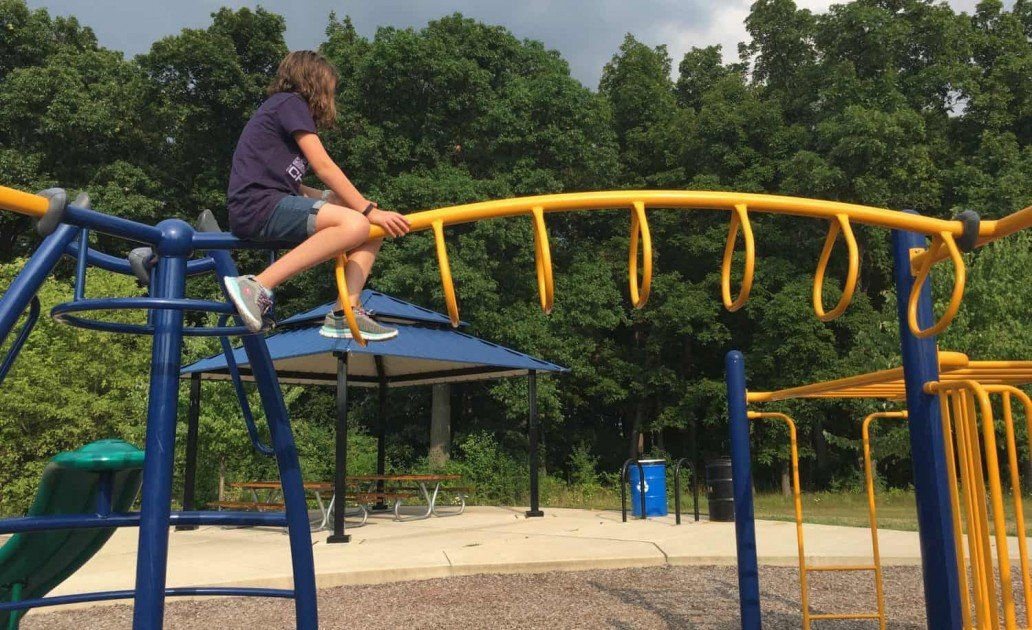 Hickory Woods Park - On Top of Monkey Bars