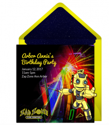 Zap Zone Birthday Party - Punchbowl Invitations