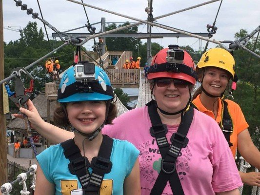 Toledo Zoo Aerial Adventure Course - On the Sky Bridge with our guide
