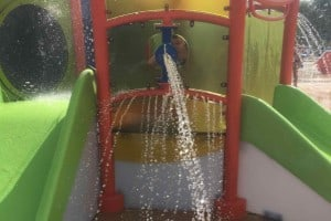Rolling Hills Water Park - Splash Pad - Taking Aim at Mom