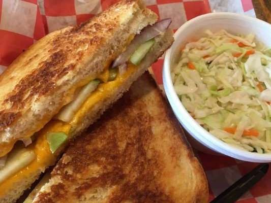 Grillcheezerie - Honey Apple Grilled Cheese & Coleslaw
