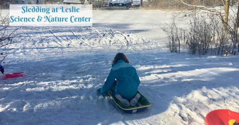 Sledding at Leslie Science & Nature Center
