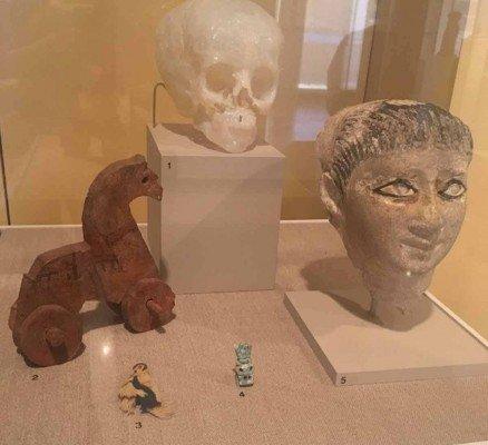 Ann Arbor Kelsey Museum of Archaeology - Toys, mask, 3D print of mummy skull