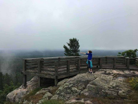Visit Michigans Upper Peninsula with Kids - Marquette- Sugarloaf Mountain - On Rocks instead of Platform