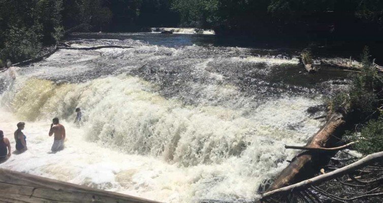 Visit Michigans Upper Peninsula with Kids - Tahquamenon Falls - Lower Falls Swimming