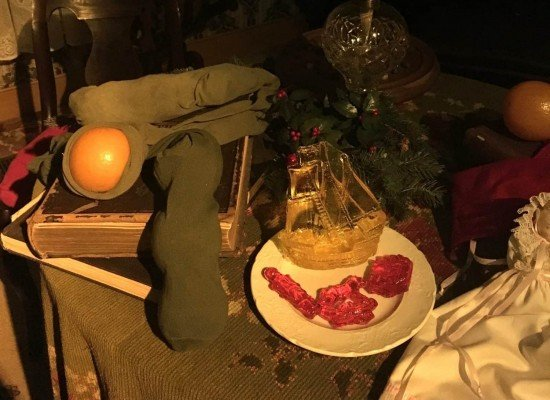Greenfield Village Holiday Nights - Oranges in actual stockings