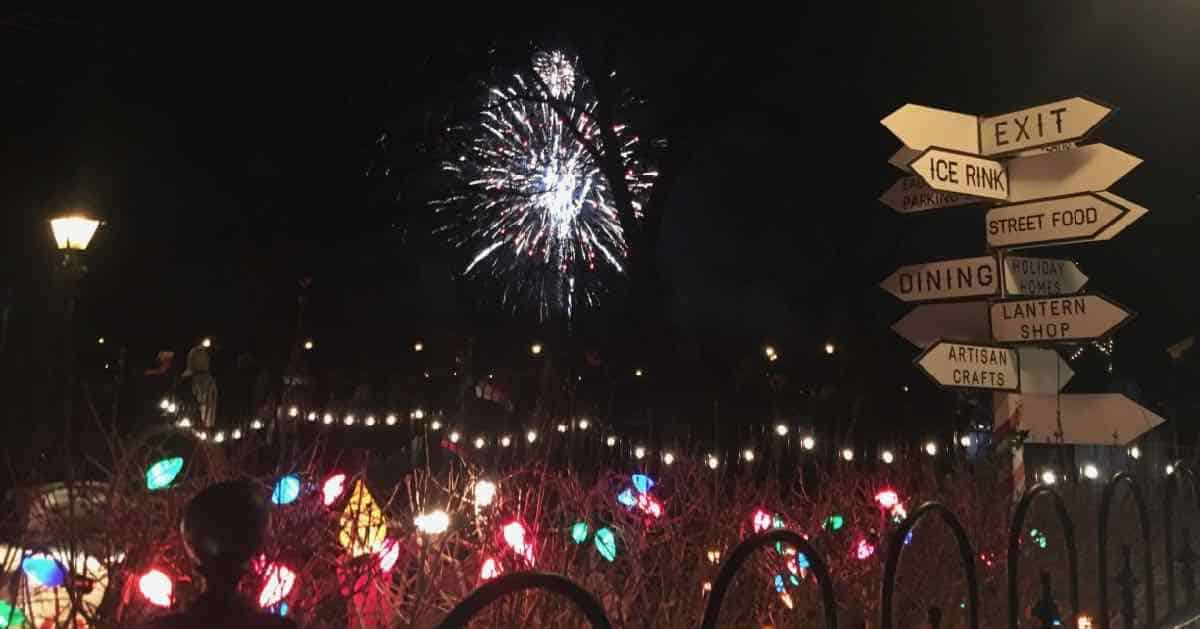 2018 Greenfield Village Holiday Nights - Fireworks & Sign
