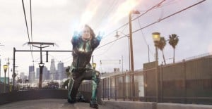 Captain Marvel - Captain Marvel uses her powers on top of a train