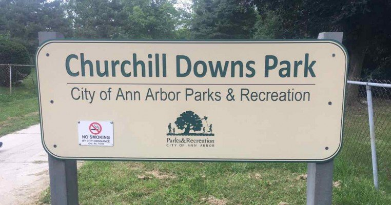 Ann Arbor's Churchill Downs Park Playground Profile - Sign