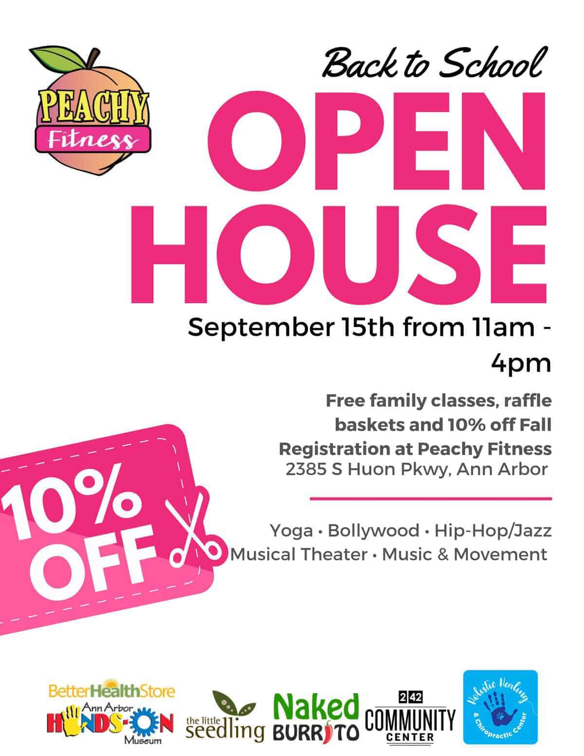 Peachy Fitness Back to School Open House Sunday, September 15 11a-4p