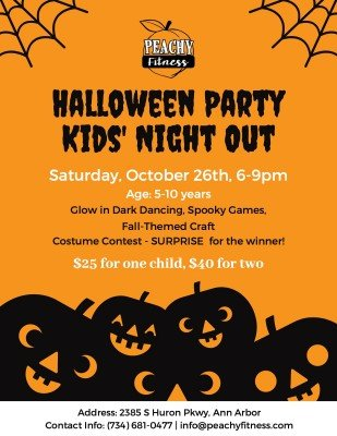Peachy Fitness Halloween Party Kids Night Out