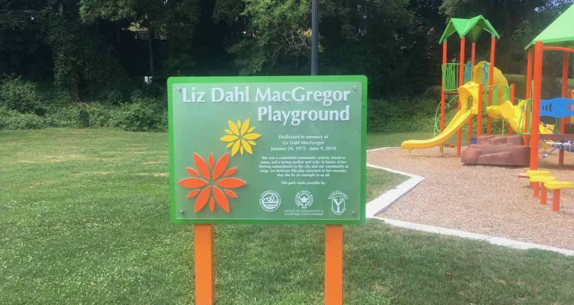 Ypsilanti Riverside Park - Playground Sign