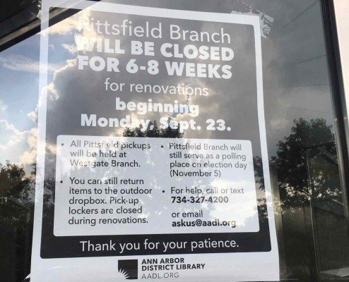 AADL Pittsfield Library Closure - Information Sign