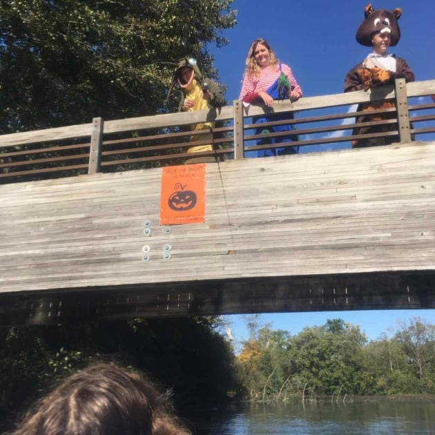 Trick or Treat on the River - Lowering Candy on Fishing LIne
