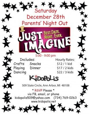 Kidopolis Parents Night Out - December 28th - Just Imagine Best Date Night Ever - Printable Flyer