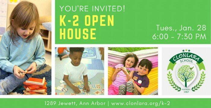 You're Invited to K-2 Open House at Clonlara School - Tuesday, January 28, 6-7:30p - 1289 Jewett, Ann Arbor - www.clonlara.org/k-2