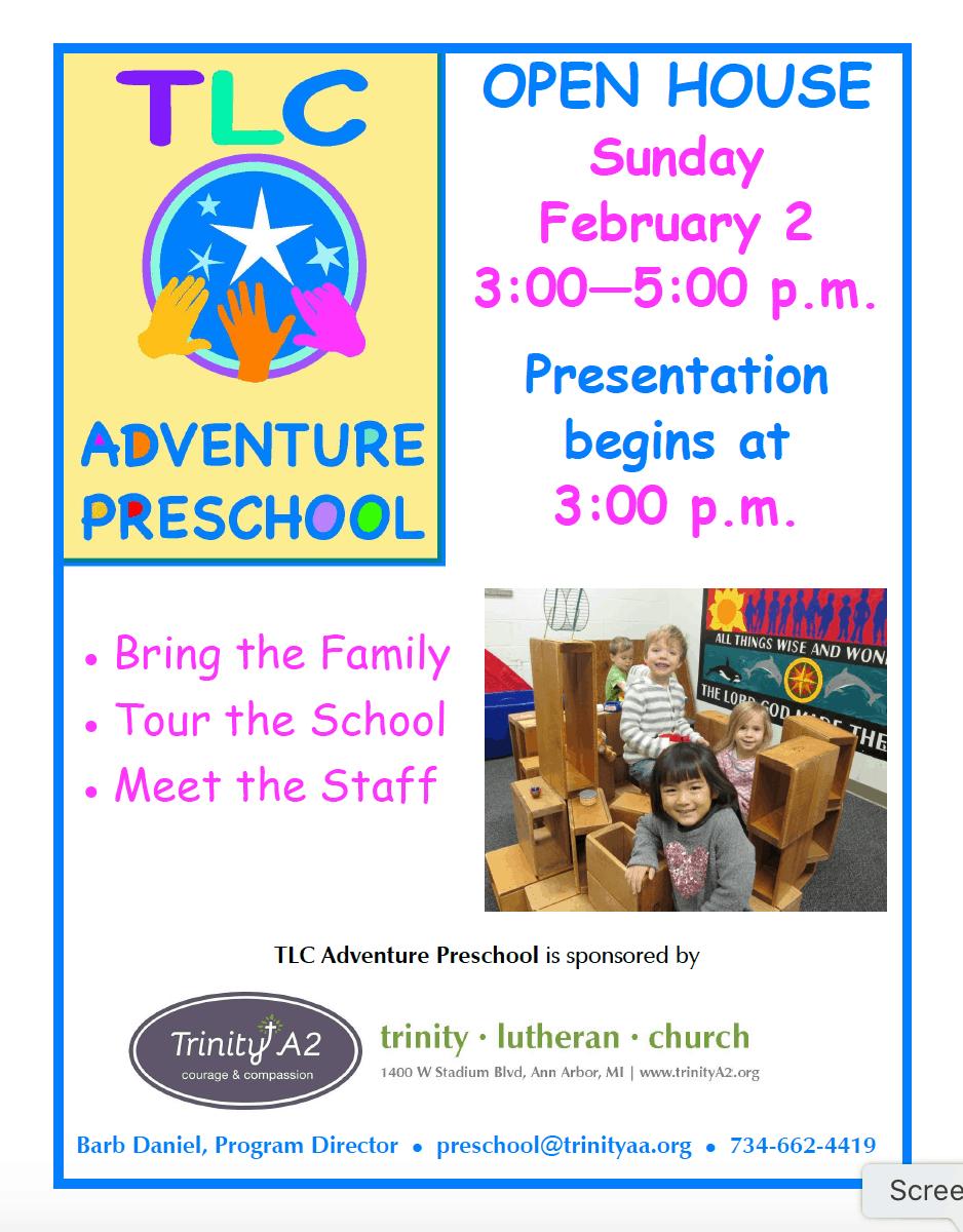 TLC Adventure Preschool Open House - Details in Event Listing
